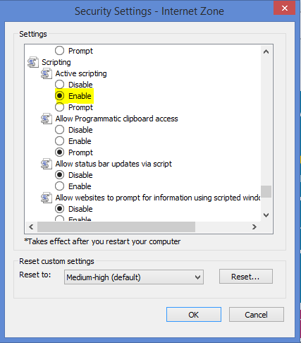 Enable VBScript in IE