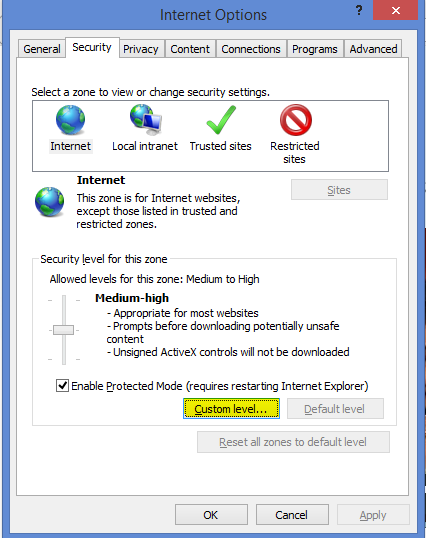 IE Security Tab