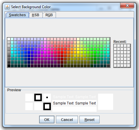 Swing Color Chooser - Color Selection