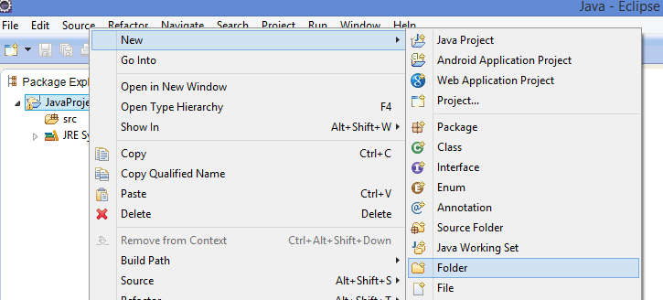 Create folder in Eclipse Workspace