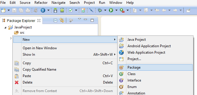 Creating Java Package in Eclipse