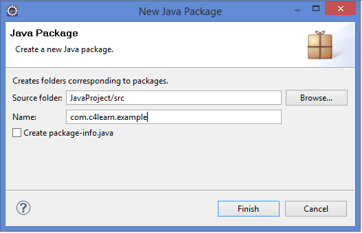 Eclipse Naming Java Package